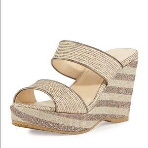 Jimmy Choo Parker Striped Wedge Sandal